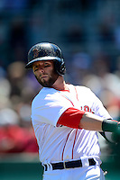 Boston Red Sox second baseman Dustin Pedroia #15 during a Spring Training game against the Miami Marlins at JetBlue Park on March 27, 2013 in Fort Myers, Florida.  Miami defeated Boston 5-1.  (Mike Janes/Four Seam Images)