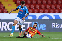 Giovanni Di Lorenzo of SSC Napoli and Marco Sau of Benevento Calcio compete for the ball<br /> during the Serie A football match between Benevento Calcio and SSC Napoli at stadio Ciro Vigorito in Benevento (Italy), October 25th, 2020. <br /> Photo Cesare Purini / Insidefoto