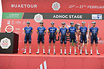 Deceuninck-Quick Step at sign on before the start of Stage 1 of the 2021 UAE Tour the ADNOC Stage running 176km from Al Dhafra Castle to Al Mirfa, Abu Dhabi, UAE. 21st February 2021.  <br /> Picture: LaPresse/Fabio Ferrari | Cyclefile<br /> <br /> All photos usage must carry mandatory copyright credit (© Cyclefile | LaPresse/Fabio Ferrari)