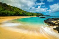 Lumahai Beach with wave. Kauai, Hawaii