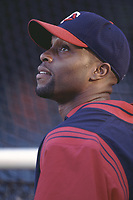 Torii Hunter of the Minnesota Twins during a 2001 season MLB game at Angel Stadium in Anaheim, California. (Larry Goren/Four Seam Images)