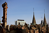 The Hilton hotel is seen through the Manege Militaire de Quebec (Quebec city armory) ruins on avenue Wilfrid-Laurier April 7, 2008. The fire completely destroyed on April 4 the Manege militaire, an important piece of the Canadian military history built in 1885.