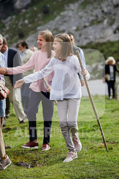 Princess Leonor of Spain and Princess Sofia of Spain visit the Enol lake in Asturias, Spain. September 08, 2018. (ALTERPHOTOS/A. Perez Meca)