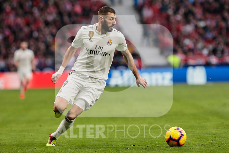 Real Madrid's Karim Benzema during La Liga match between Atletico de Madrid and Real Madrid at Wanda Metropolitano Stadium in Madrid, Spain. February 09, 2019. (ALTERPHOTOS/A. Perez Meca)