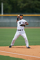 GCL Yankees East third baseman Daniel Barrios (28) throws to first base during the first game of a doubleheader against the GCL Blue Jays on July 24, 2017 at the Yankees Minor League Complex in Tampa, Florida.  GCL Blue Jays defeated the GCL Yankees East 6-3 in a game that originally started on July 8th.  (Mike Janes/Four Seam Images)