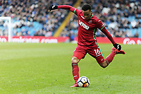 Martin Olsson of Swansea City crosses the ball during The Emirates FA Cup Fifth Round match between Sheffield Wednesday and Swansea City at Hillsborough, Sheffield, England, UK. Saturday 17 February 2018