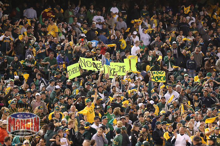 OAKLAND, CA - OCTOBER 10:  Fans of the Oakland Athletics cheer after Game 4 of the ALDS against the Detroit Tigers at O.co Coliseum on October 10, 2012 in Oakland, California. (Photo by Brad Mangin)