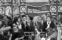 November 15, 1976 file photo - Montreal (QC) CANADA -<br /> PQ Leader Rene Levesque adress the crowd as<br /> Parti Quebecois win the provincial 1976 election.<br /> Surrounding him : Claude Charron,Camille Laurin, Lise Payette, ...,