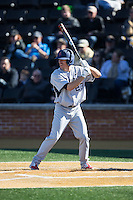 Daniel Brumbaugh (23) of the Richmond Spiders at bat against the Wake Forest Demon Deacons at David F. Couch Ballpark on March 6, 2016 in Winston-Salem, North Carolina.  The Demon Deacons defeated the Spiders 17-4.  (Brian Westerholt/Four Seam Images)