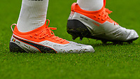 The Puma football boots of Romelu Lukaku of Manchester United during the Premier League match between Brighton and Hove Albion and Manchester United at the American Express Community Stadium, Brighton and Hove, England on 19 August 2018. Photo by Edward Thomas / PRiME Media Images.
