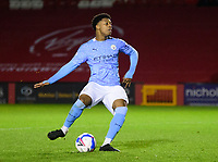 Manchester City U21's Keyendrah Simmonds sees his penalty saved<br /> <br /> Photographer Andrew Vaughan/CameraSport<br /> <br /> EFL Papa John's Trophy - Northern Section - Group E - Lincoln City v Manchester City U21 - Tuesday 17th November 2020 - LNER Stadium - Lincoln<br />  <br /> World Copyright © 2020 CameraSport. All rights reserved. 43 Linden Ave. Countesthorpe. Leicester. England. LE8 5PG - Tel: +44 (0) 116 277 4147 - admin@camerasport.com - www.camerasport.com
