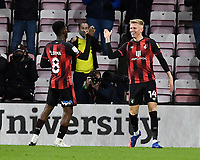 Sam Surridge of AFC Bournemouth right celebrates scoring the fifth goal with Jefferson Lerma of AFC Bournemouth during AFC Bournemouth vs Huddersfield Town, Sky Bet EFL Championship Football at the Vitality Stadium on 12th December 2020