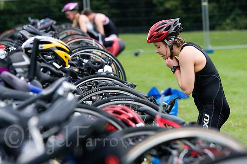 22 JUN 2008 - CHESTER, GBR - A competitor prepares in transition for the bike - Deva Triathlon. (PHOTO (C) NIGEL FARROW)