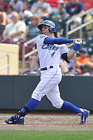 Brett Hayes #4 of the Omaha Storm Chasers swings against the Las Vegas 51s at Werner Park on August 17, 2014 in Omaha, Nebraska. The Storm Chasers  won 4-0.   (Dennis Hubbard/Four Seam Images)