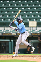 FCL Rays Estanli Castillo (70) bats during a game against the FCL Pirates Gold on July 26, 2021 at LECOM Park in Bradenton, Florida. (Mike Janes/Four Seam Images)