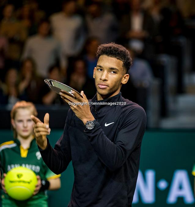 Rotterdam, The Netherlands, 16 Februari 2020, ABNAMRO World Tennis Tournament, Ahoy,<br /> Mens Single Final:  Prizegiving:   runner up Felix Auger-Aliassime (CAN), <br /> Photo: www.tennisimages.com