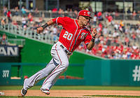 15 September 2013: Washington Nationals shortstop Ian Desmond rounds third to score the Nationals' third run on a Wilson Ramos single in the 4th inning against the Philadelphia Phillies at Nationals Park in Washington, DC. The Nationals took the rubber match of their 3-game series 11-2 to keep their wildcard postseason hopes alive. Mandatory Credit: Ed Wolfstein Photo *** RAW (NEF) Image File Available ***