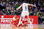 Real Madrid's Rudy Fernandez and Crvena Zvezda Mts Belgrade's Luka Mitrovic during Turkish Airlines Euroleague match between Real Madrid and Crvena Zvezda Mts Belgrade at Wizink Center in Madrid, Spain. March 10, 2017. (ALTERPHOTOS/BorjaB.Hojas)