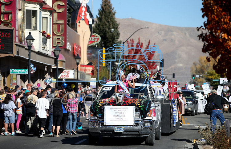 The Duckwater Shoshone Tribe entry participates in the 75th annual Nevada Day parade in Carson City, Nev., on Saturday, Oct. 26, 2013.<br /> Photo by Cathleen Allison