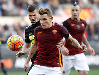 Calcio, Serie A: Roma vs Hellas Verona. Roma, stadio Olimpico, 17 gennaio 2016.<br /> Roma's Lucas Digne, right, is challenged by Hellas Verona's Pawel Wszolek during the Italian Serie A football match between Roma and Hellas Verona at Rome's Olympic stadium, 17 January 2016.<br /> UPDATE IMAGES PRESS/Isabella Bonotto