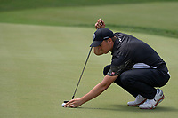 4th June 2021; Dublin, Ohio, USA; Jordan Spieth (USA) lines up his putt on the 18th hole during the second round of the Memorial Tournament at Muirfield Village Golf Club in Dublin, Ohio on June 04, 2021.