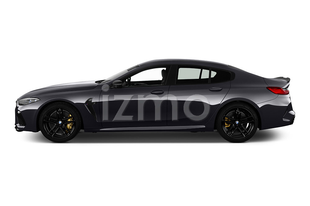 Car Driver side profile view of a 2020 BMW M8-Gran-Coupe Competition 4 Door Sedan Side View