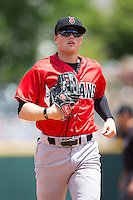 Indianapolis Indians right fielder Austin Meadows (19) jogs off the field between innings of the game against the Charlotte Knights at BB&T BallPark on June 19, 2016 in Charlotte, North Carolina.  The Indians defeated the Knights 6-3.  (Brian Westerholt/Four Seam Images)