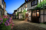 Great Britain, England, East Sussex, Rye: Nightshot of The Mermaid Inn, along Mermaid Street. Medieval Inn rebuilt in 1420