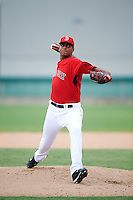 GCL Red Sox starting pitcher Denyi Reyes (66) during the second game of a doubleheader against the GCL Rays on August 9, 2016 at JetBlue Park in Fort Myers, Florida.  GCL Rays defeated GCL Red Sox 9-1.  (Mike Janes/Four Seam Images)
