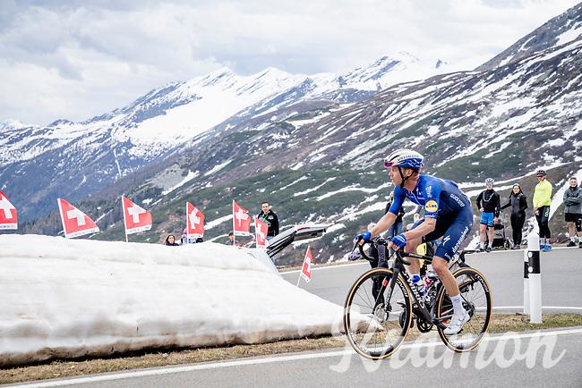 Iljo Keisse (BEL/Deceuninck - Quick Step) up the Passo San Bernardino (2065m/SUI)<br /> <br /> 104th Giro d'Italia 2021 (2.UWT)<br /> Stage 20 (through Switzerland) from Verbania to Valle Spluga-Alpe Motta (164km)<br /> <br /> ©kramon