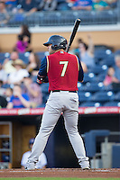 Austin Romine (7) of the Scranton/Wilkes-Barre RailRiders at bat against the Durham Bulls at Durham Bulls Athletic Park on May 15, 2015 in Durham, North Carolina.  The RailRiders defeated the Bulls 8-4 in 11 innings.  (Brian Westerholt/Four Seam Images)