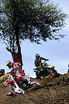 David Millsaps (118) comes down a hill in front of Ricky Carmichael (4) in a race on the course at the Unadilla Valley Sports Center in New Berlin, New York on July 16, 2006, during the AMA Toyota Motocross Championship.