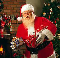 Santa Claus bearing gifts.