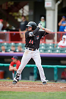 Erie SeaWolves third baseman Kody Eaves (24) at bat during a game against the New Hampshire Fisher Cats on June 20, 2018 at UPMC Park in Erie, Pennsylvania.  New Hampshire defeated Erie 10-9.  (Mike Janes/Four Seam Images)