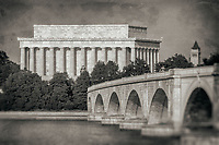 Memorial Bridge Lincolcn Memorial Washington DC Black and White Photography Washington DC Art - - Framed Prints - Wall Murals - Metal Prints - Aluminum Prints - Canvas Prints - Fine Art Prints Washington DC Landmarks Monuments Architecture