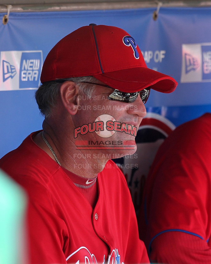Philadelphia Phillies coach Ryne Sandberg in the dugout before a scrimmage against the Florida State Seminoles at Brighthouse Field on February 29, 2012 in Clearwater, Florida.  Philadelphia defeated Florida State 6-1.  (Mike Janes/Four Seam Images)