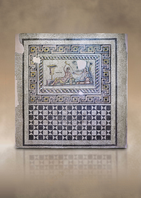 Roman mosaics. The Acratos & Eljprocvne Mosaic from The House of Maenad Zeugma.  2nd - 3rd century AD. Zeugma Mosaic Museum, Gaziantep, Turkey.    Against an art background.