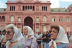 Buenos Aires Argentina 2000s. Mothers of Plaza de Mayo gather weekly to remind the world of the Disappeared. Buenos Aires Argentina South America. Casa Rosa the Presidents palace 2002 2000s.