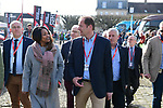 Former Olympian and now French Minister of Sports Laura Flessel and Tour Director Christian Prudhomme ASO in Compiegne before the start of the 116th edition of Paris-Roubaix 2018. 8th April 2018.<br /> Picture: ASO/Pauline Ballet | Cyclefile<br /> <br /> <br /> All photos usage must carry mandatory copyright credit (© Cyclefile | ASO/Pauline Ballet)