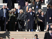 Washington, DC - March 18, 2015: His Royal Highness The Prince of Wales (c-r), accompanied by The Duchess of Cornwall (c-l), tours the Lincoln Memorial in the District of Columbia,  March 18, 2015, as part of a four-day USA visit. Prince Charles has officially visited the United States 19 times since 1970. (Photo by Don Baxter/Media Images International)