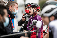 Jolien d'Hoore (BEL/SD Worx) doing a pre-race interview at the race start in Denain as this is her very last pro race in her career.<br /> <br /> Inaugural Paris-Roubaix Femmes 2021 (1.WWT)<br /> One day race from Denain to Roubaix (FRA)(116.4km)<br /> <br /> ©kramon