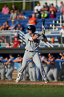 Tri-City ValleyCats catcher Michael Papierski (9) at bat during a game against the Batavia Muckdogs on July 15, 2017 at Dwyer Stadium in Batavia, New York.  Tri-City defeated Batavia 5-4.  (Mike Janes/Four Seam Images)