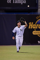 Tampa Yankees left fielder Trey Amburgey (17) settles under a fly ball during a game against the Lakeland Flying Tigers on April 7, 2017 at George M. Steinbrenner Field in Tampa, Florida.  Lakeland defeated Tampa 5-0.  (Mike Janes/Four Seam Images)