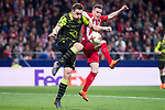 Atletico de Madrid Kevin Gameiro and Sporting de Lisboa Sebastian Coates during UEFA Europa League match between Atletico de Madrid and Sporting de Lisboa at Wanda Metropolitano in Madrid, Spain. April 05, 2018. (ALTERPHOTOS/Borja B.Hojas)