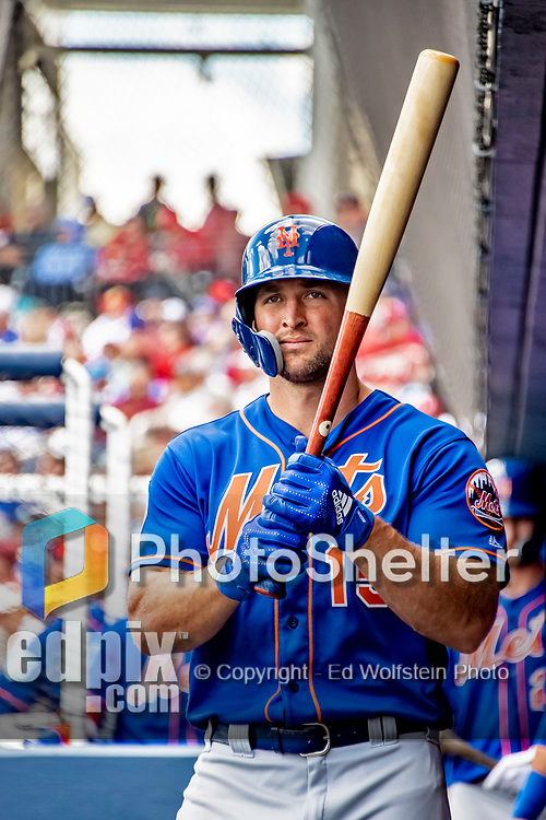 7 March 2019: New York Mets designated hitter Tim Tebow prepares for his first at bat of the Spring Training Game against the Washington Nationals at the Ballpark of the Palm Beaches in West Palm Beach, Florida. The Nationals defeated the visiting Mets 6-4 in Grapefruit League, pre-season play. Mandatory Credit: Ed Wolfstein Photo *** RAW (NEF) Image File Available ***