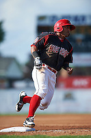 Batavia Muckdogs outfielder Travis Brewster (41) running the bases during the first game of a doubleheader against the Vermont Lake Monsters August 11, 2015 at Dwyer Stadium in Batavia, New York.  Batavia defeated Vermont 6-0.  (Mike Janes/Four Seam Images)