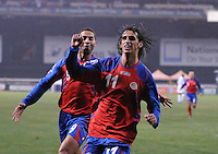 Costa Rica forward Bryan Ruiz celebrates his goal in the 21st minute of the game.  The USMNT tied Costa Rica 2-2 on the final game of the 2010 FIFA World Cup Qualifying round at RFK Stadium, Wednesday October 14, 2009.