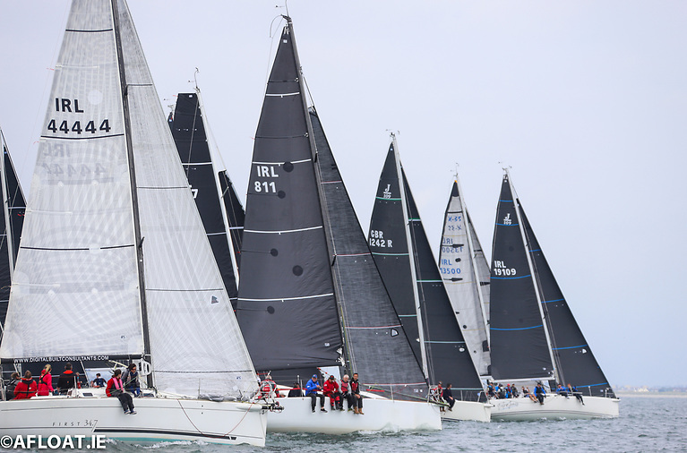 J109 (IRL 1909) Outrajeous gets her bow out to make a great start and win the first race in IRC One of the ICRA championships on Dublin Bay