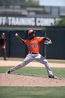 San Francisco Giants Orange relief pitcher Jose Yan (41) delivers a pitch during an Extended Spring Training game against the Oakland Athletics at the Lew Wolff Training Complex on May 29, 2018 in Mesa, Arizona. (Zachary Lucy/Four Seam Images)