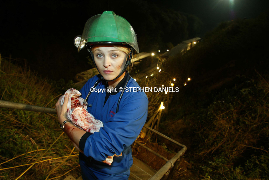 """PHOTO BY © STEPHEN DANIELS FILMING BBC TV PROGRAMME """"CASUALTY"""" AT NENE VALLEY RAILWAY,  PETERBOROUGH, Cambs<br /> ACTRESS CHRISTINE STEPHEN-DALY"""